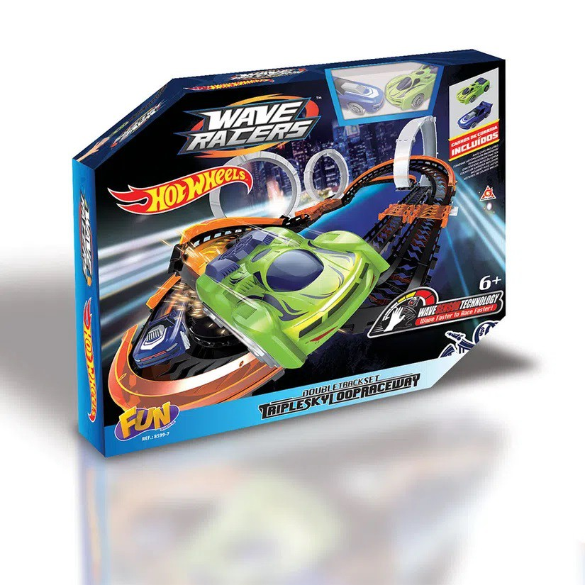 Pista Hot Wheels Wave Racers Triple Skyloop F00311 - Fun