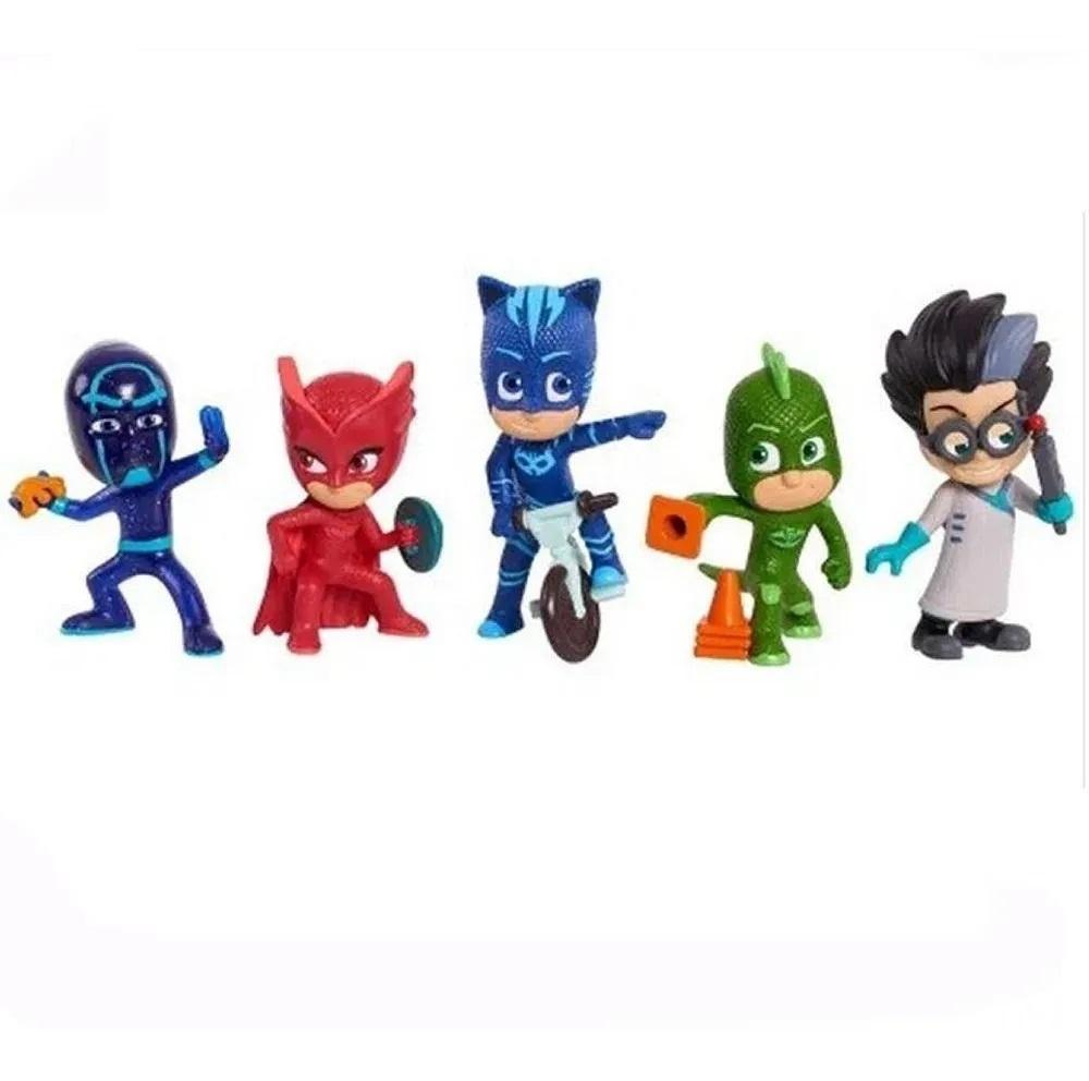 PJ Masks - Pack com 5 Personagens - Menino Gato - Lagartixo - Corujita - Romeo e Ninja Noturno BR1264 - Pjmasks Multikids