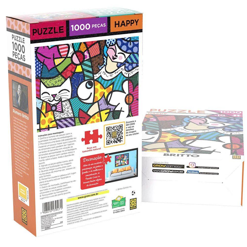 Quebra Cabeça 1000 Peças Romero Britto Happy - Puzzle Grow