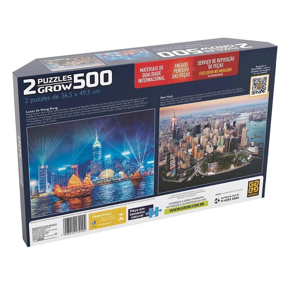 Quebra Cabeça 500 Peças Duplo Luzes de Hong Kong e New York   - Puzzle Grow