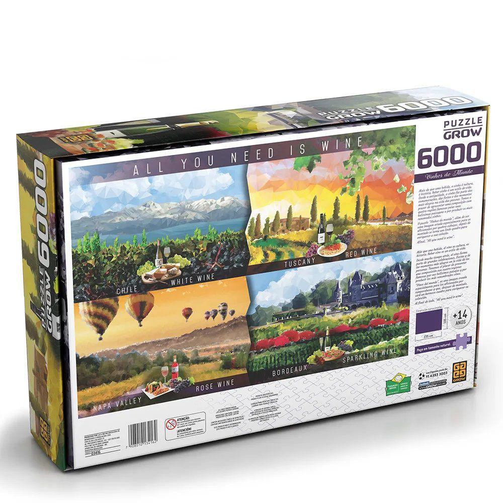 Quebra Cabeça 6000 Peças Vinhos do Mundo - Puzzle Grow