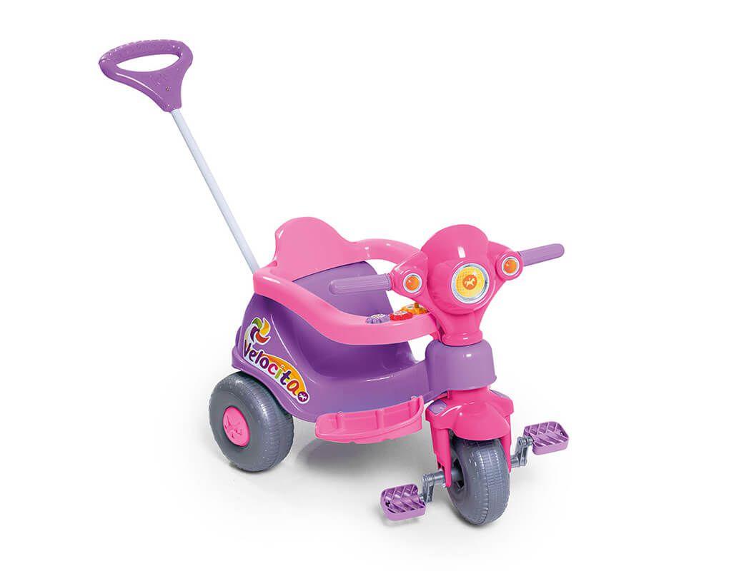 Velocita Calesita Lilas - Triciclo Infantil com alça de Proteção