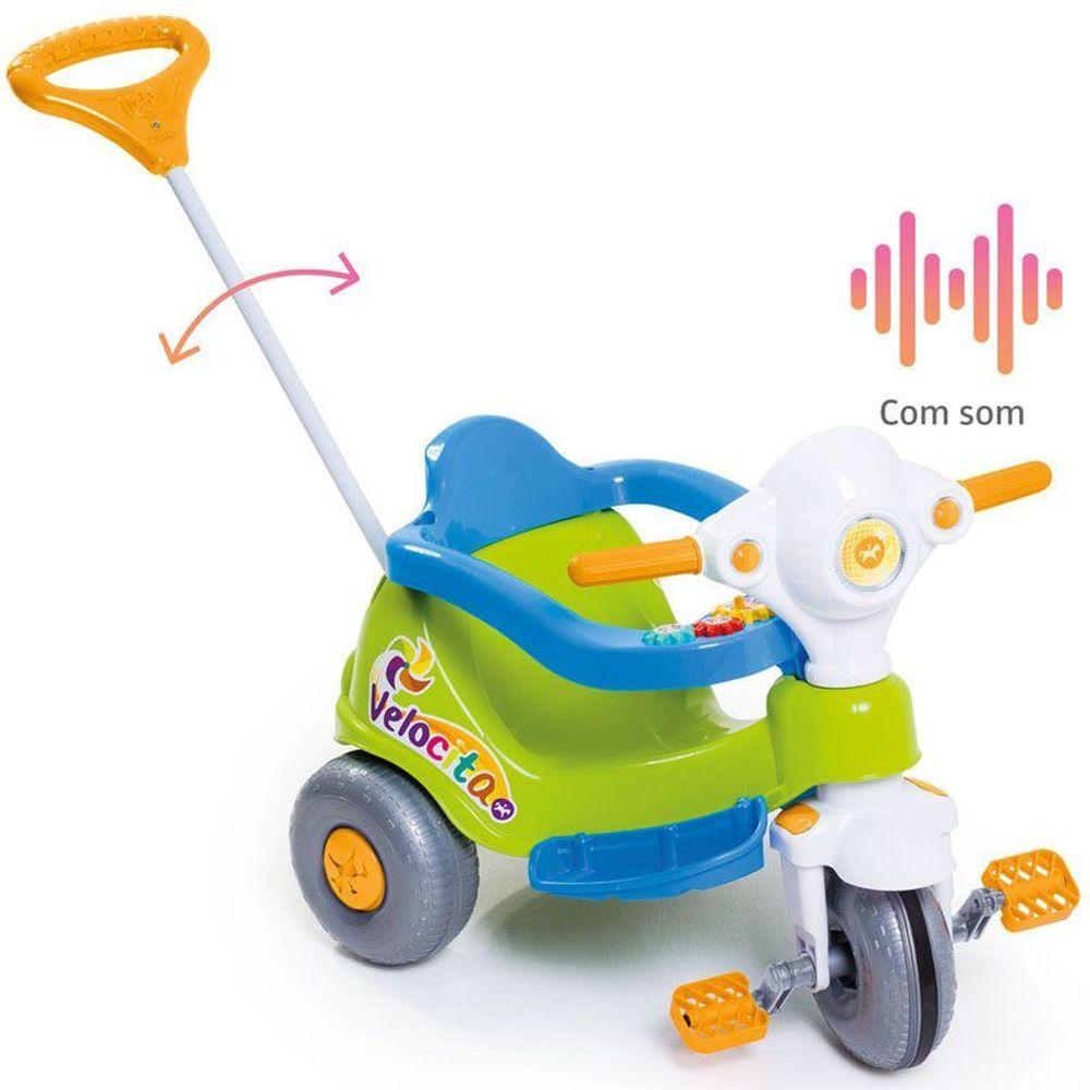 Velocita Calesita Verde - Triciclo Infantil com alça de Proteção
