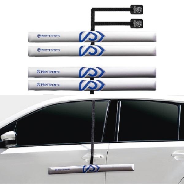 Kit Protetor de Porta de Carro - Prata - 4 peças