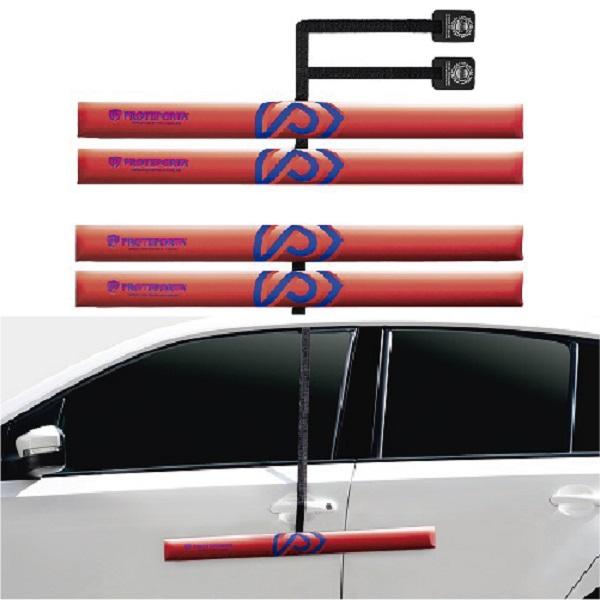 Kit Protetor de Porta de Carro - Vermelho - 4 peças