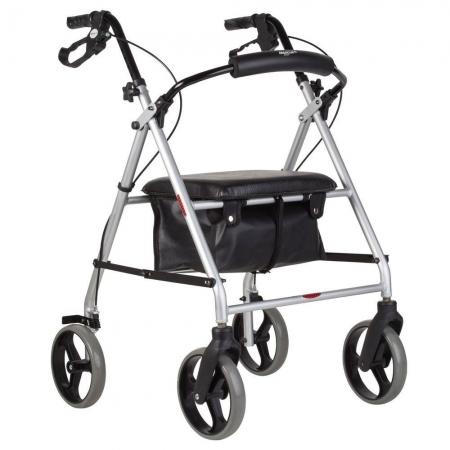 Andador Mercur com 4 Rodas e Assento e Cesto Aluminio