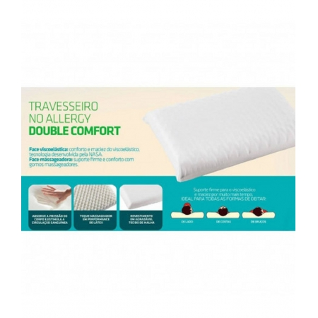 Travesseiro NO ALLERGY Double Comfort Fibrasca