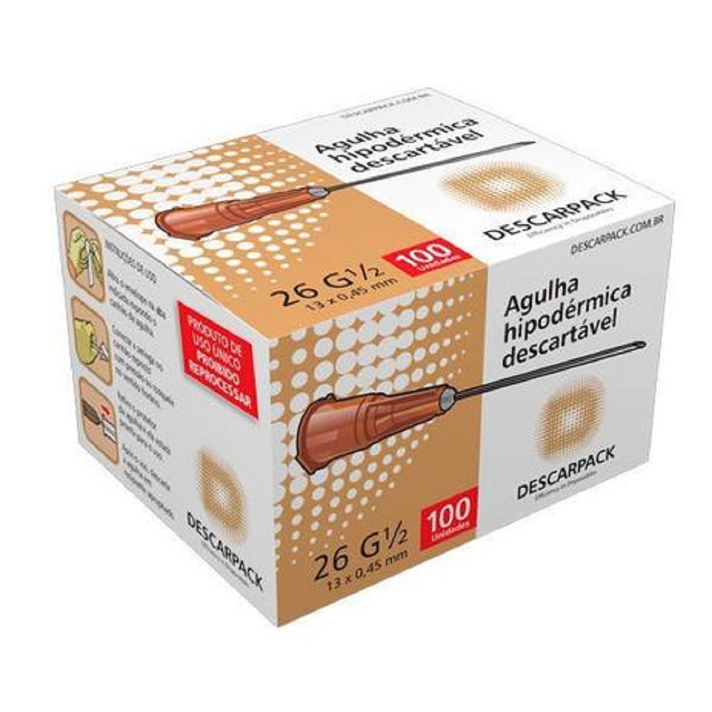 Agulha Hipodermica Descarpack 13X0,45MM Caixa C/100 UNID
