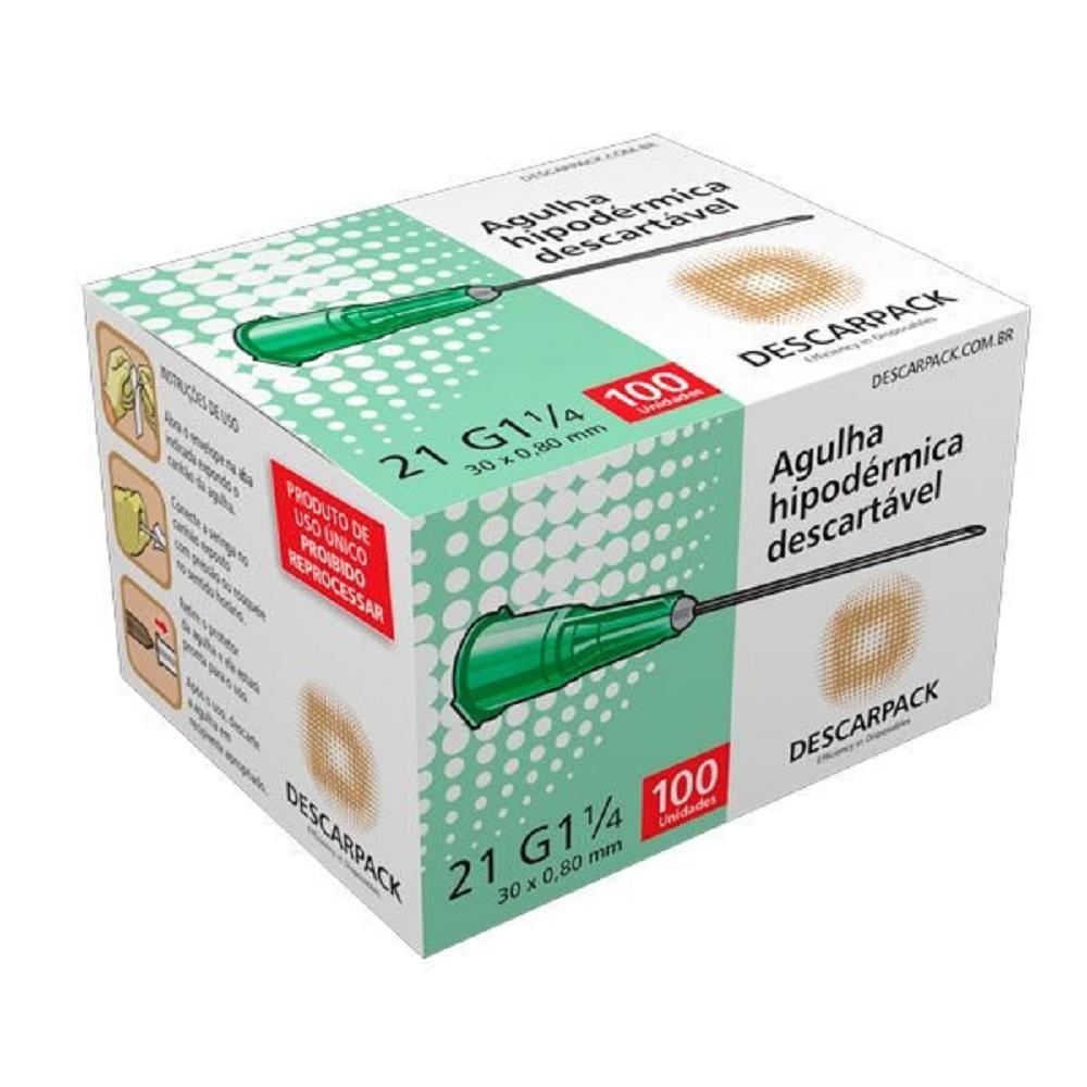 Agulha Hipodermica Descarpack 30X0,8MM 21G1 1/4 Caixa C/100 UNID