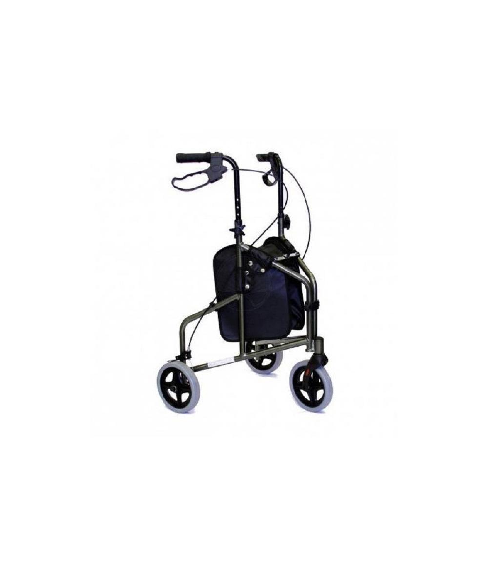 Andador de Aluminio com 3 Rodas e Cesto Prata Mobil