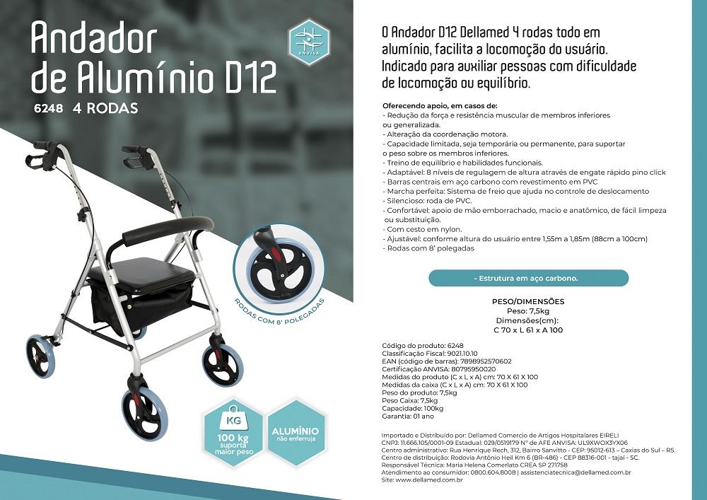 Andador Dellamed com 4 Rodas e Assento Aluminio D12