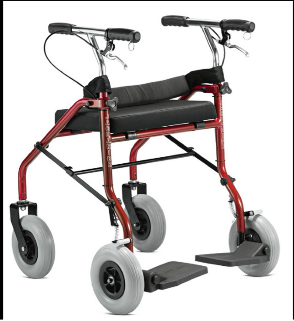Andador Jaguaribe com 4 Rodas e Assento Vermelho