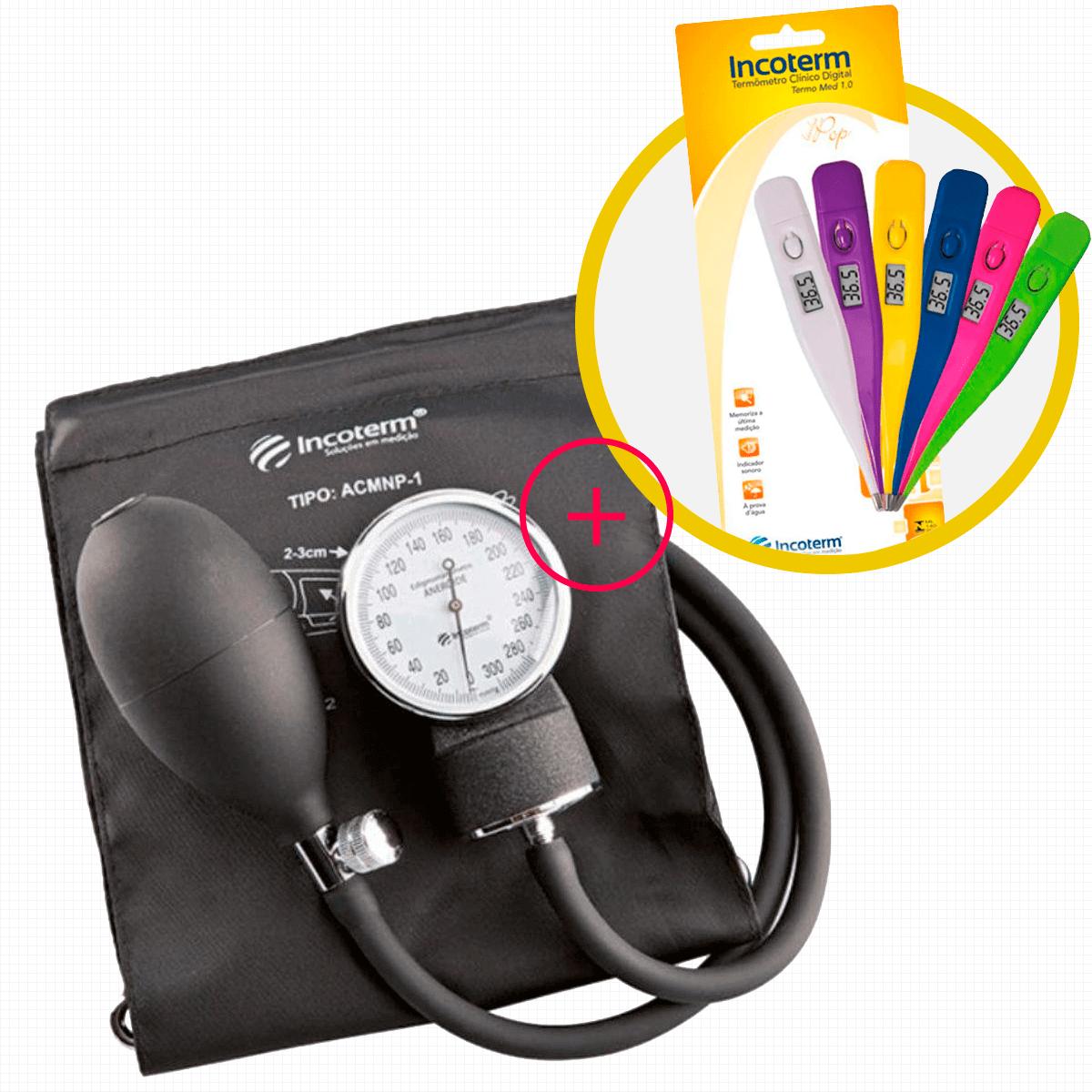 Aparelho de Pressão Incoterm EA100 + Termometro Digital Incoterm