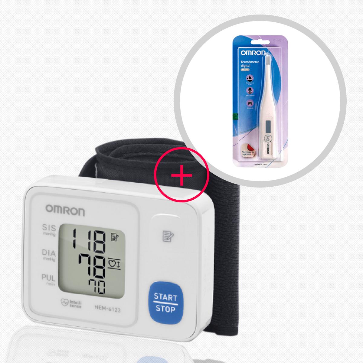Aparelho de Pressão Pulso Digital 6124 + Termômetro Clinico Digital MC245 Omron