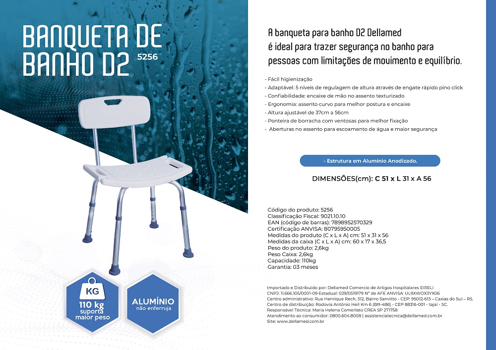 Banco P/ Banho com Encosto D2 Dellamed