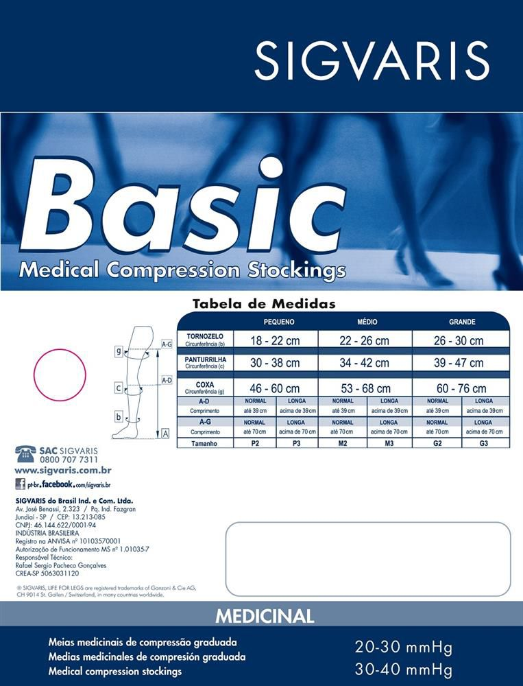 Meia Panturrilha Sigvaris Basic 972 20-30 S/ Ponteira