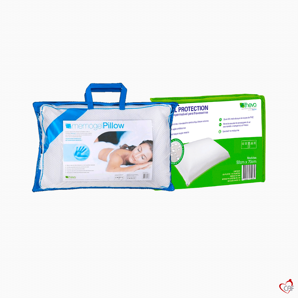 Travesseiro de Visgo Elástico Memogel Pillow + Protetor de Travesseiro theva Total Protection