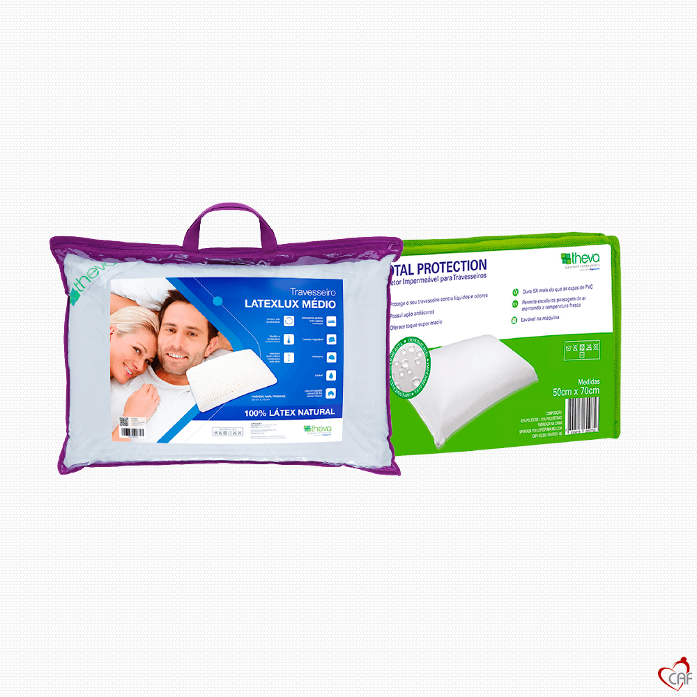 Travesseiro Latex Theva Lux Médio + Protetor de Travesseiro Total Protection