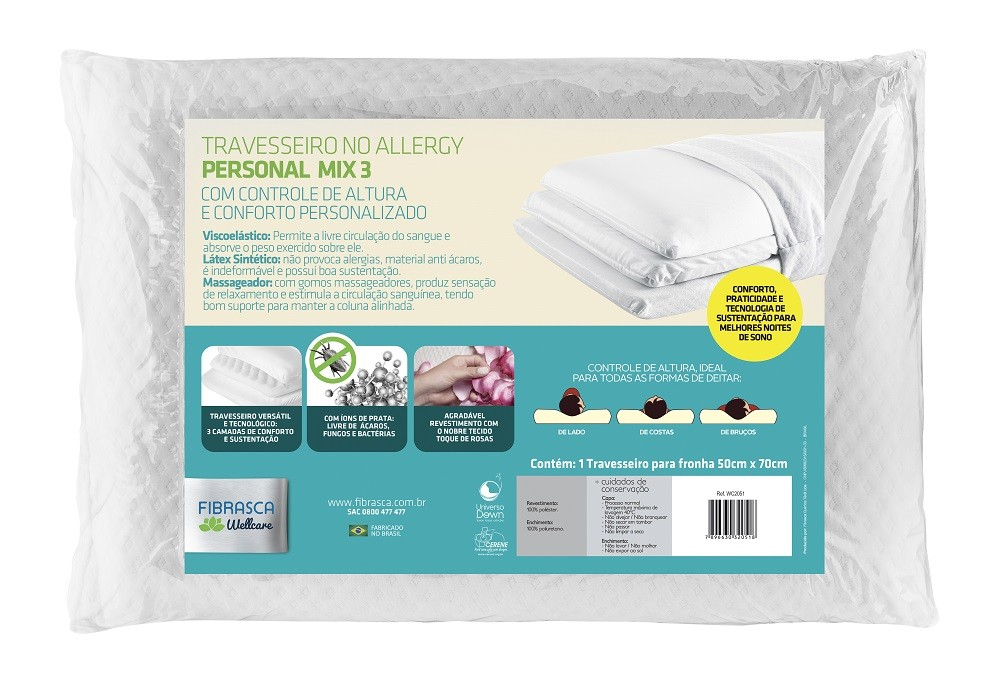 Travesseiro NO ALLERGY Personal MIX 3 Fibrasca