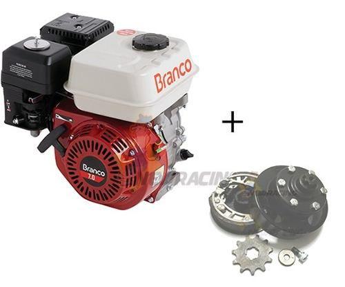 Motor Branco 7hp + Embreagem Pinhao Mini Buggy Kart Cross