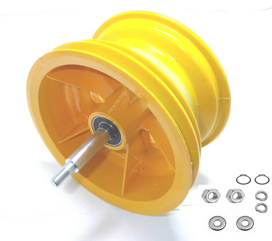 Roda trazeira walk machine montada amarela original