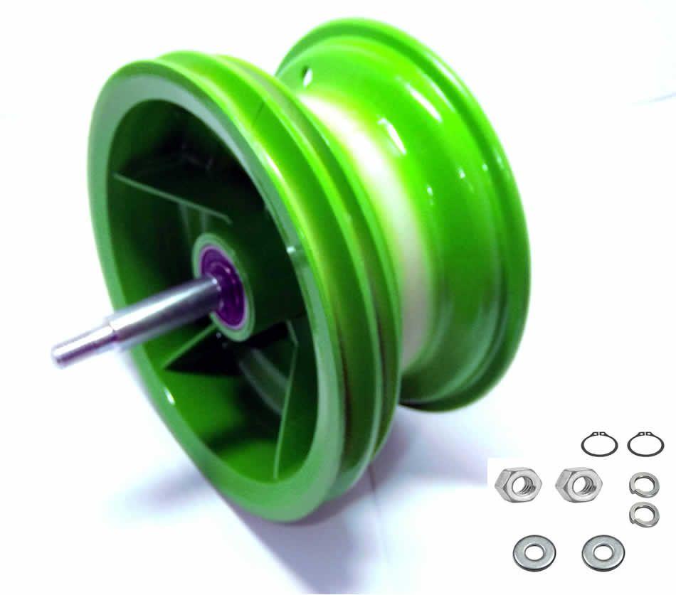 Roda trazeira walk machine montada verde  original