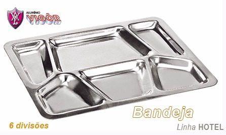 Bandeja Restaurante com 6 Divisões Polida - Alumínio Vigôr