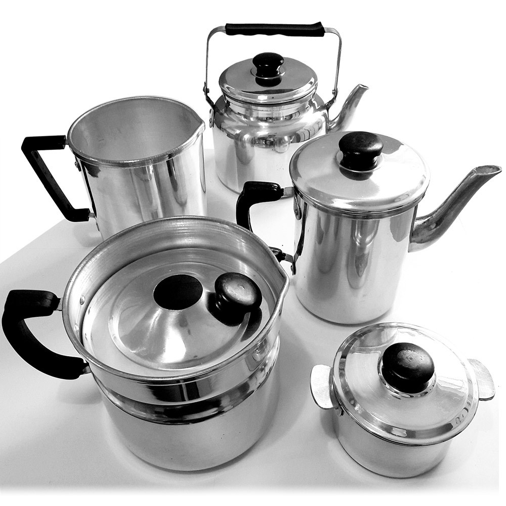 Conjunto / Jogo com 5 peças em alumínio para Chá & Café