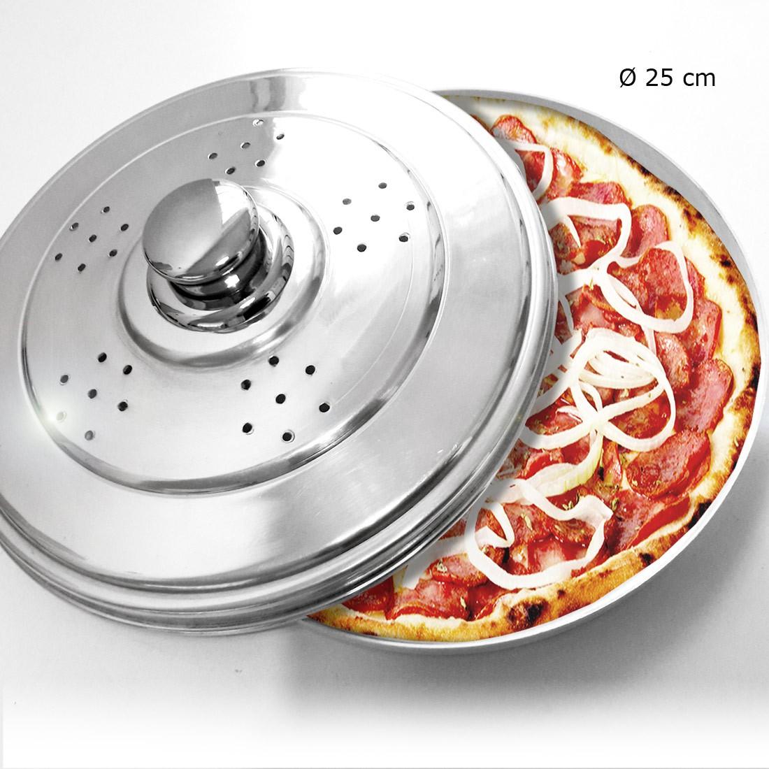 Forma para Pizza com Tampa Polida e Pomel de Inox 25 cm - Vigôr