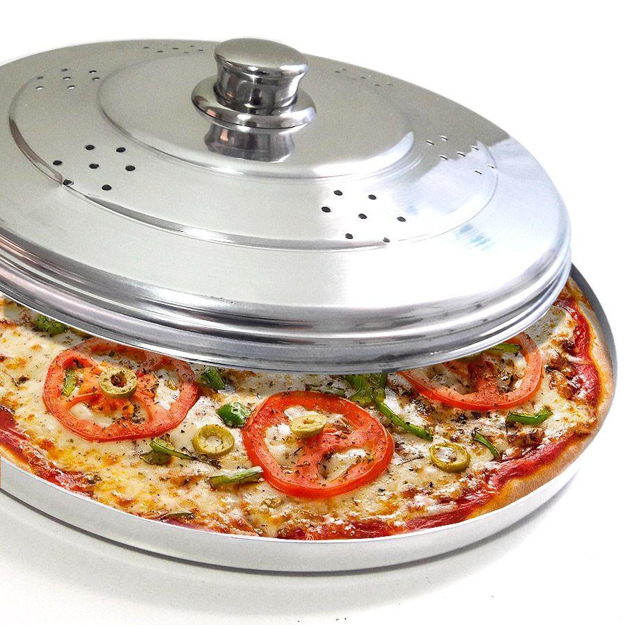 Forma para Pizza com Tampa Polida e Pomel de Inox 30 cm - Vigôr