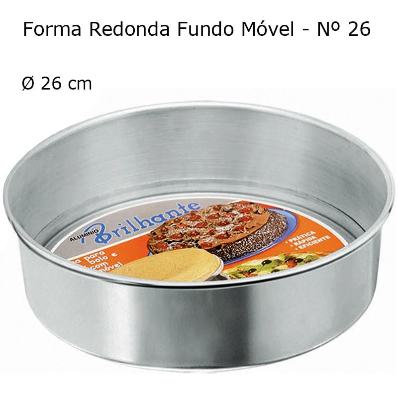 Forma Redonda para Torta e Bolo com Fundo Removível 26 cm - Brilhante