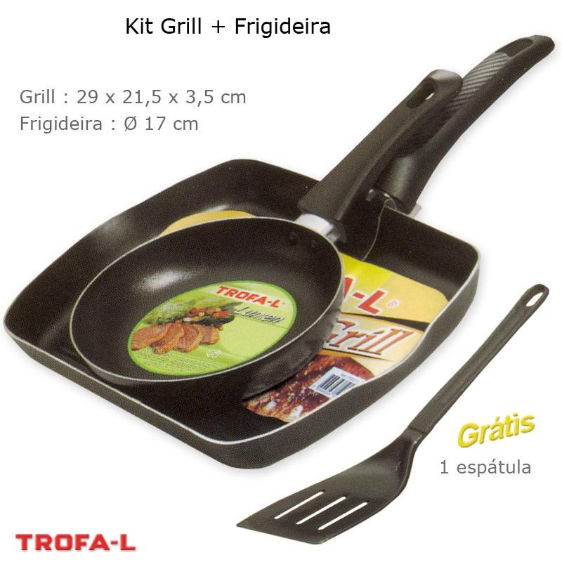 Kit Grill (Bistequeira) e Frigideira Antiaderente com espátula - Trofa-L