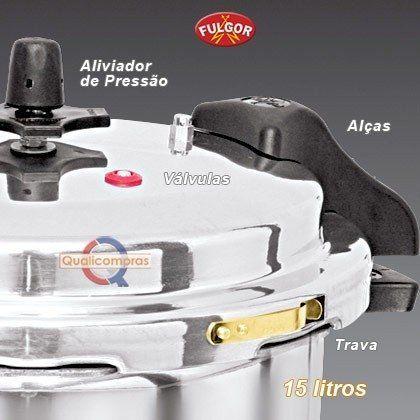 Panela de Pressão 15 litros Industrial Polida com Alças - Fulgor