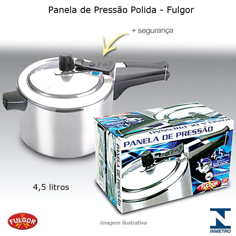 Panela de Pressão 4,5 litros Polida com Aliviador de Pressão - Fulgor