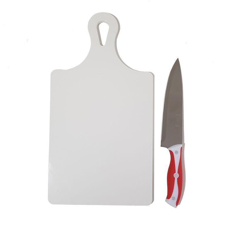 Tábua de Corte Raquete Polietileno + Faca do Chef