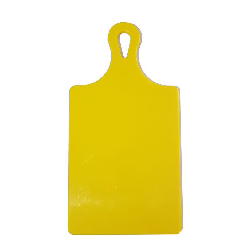 Tábua de Corte Raquete Polietileno Grande Amarela 21 x 41 cm