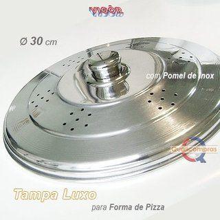 Tampa Luxo Polida para Forma Pizza com Pomel Inox - Vigôr
