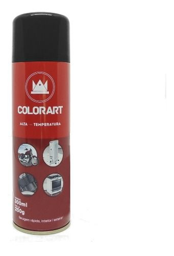 Tinta Spray Preto Alta Temperatura 600ºc Colorart Moto Roda