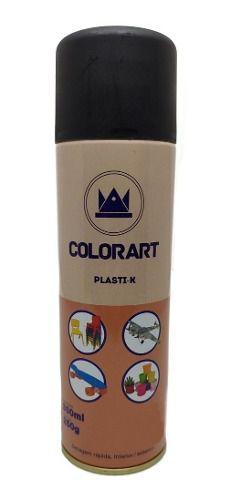 6 Un Tinta Preto Fosco Plasti K Spray Para Plástico Colorart