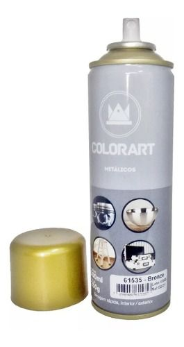 01 Lata Tinta Spray Colorart Metálicos Bronze 300 Ml