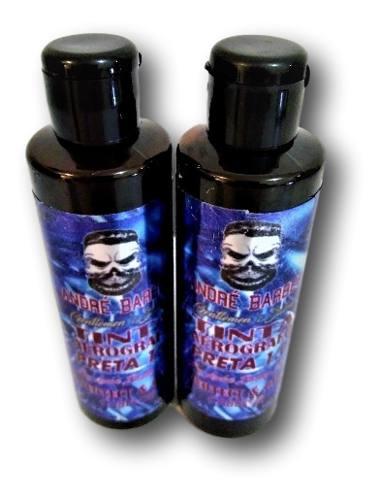 2 Pigmentação Tinta Para Aerógrafo Barber Shop 100ml Preta