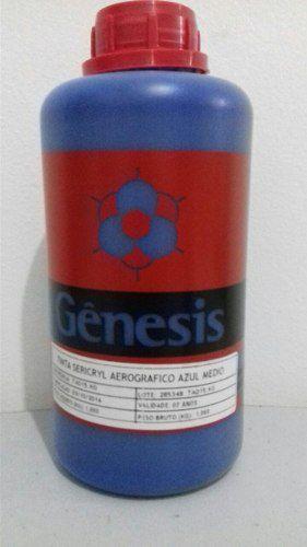 Tinta Gênesis Para Aerografia Azul Médio Embalagem 1 Litro