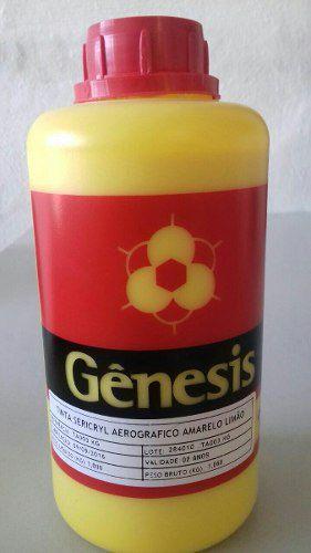 Tinta Para Aerografia Cor Amarelo Limão Embalagem 1 Litro