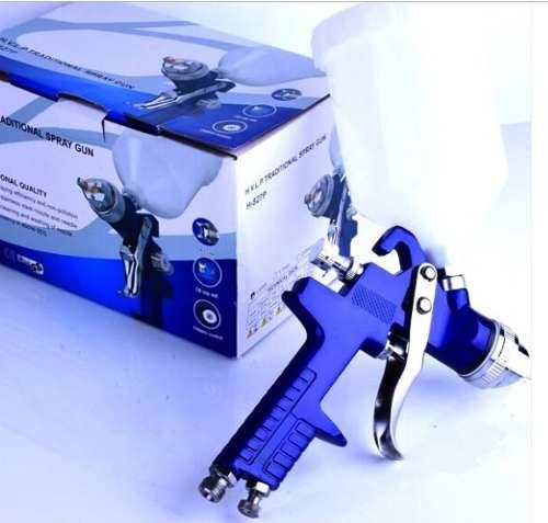 Pistola De Pintura Gravidade Hvlp Bico 1.4 600 Ml H827 Azul