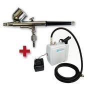 Kit Aerografia Compressor silencioso Bivolt WIMPEL COMP3 e Aerógrafo MP-1001 Wimpel Dupla Ação 0.35 mm