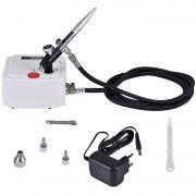 Kit Aerografia Mini compressor Bivolt + Mangueira + Aerógrafo Dupla Ação 0.4 mm Vonder