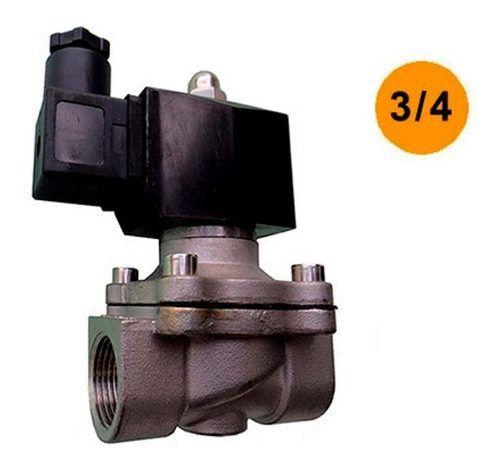 Válvula Solenoide Aço Inox 2/2 Vias N-fechada 3/4 Bsp 12 Vdc
