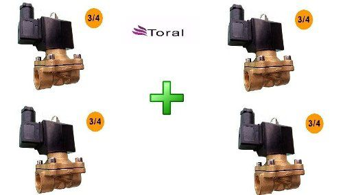 Kit Com 04 Válvula Solenoide 2/2 Vias Rosca 3/4 Nf 220 V