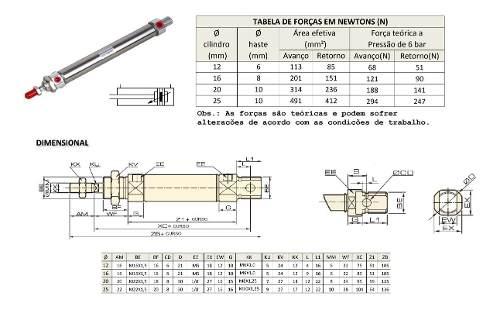 Cilindro Pneumatico Mini Iso Dupla Ação Ø 25 X 75 Mm Curso