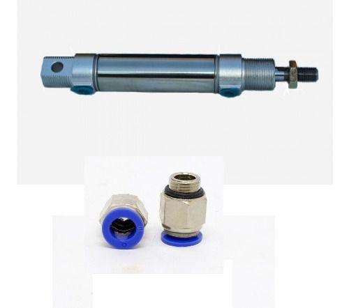 Cilindro Pneumático Mini Iso 20 X 100 Mm Com Conexões 6 Mm